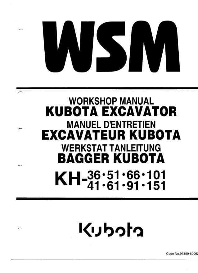 Kubota KH66 Excavator Service Repair Manual