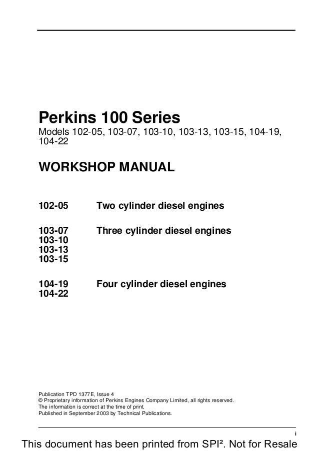 PERKINS 100 SERIES 104-22 DIESEL ENGINE Service Repair Manual