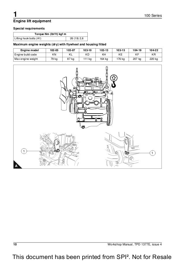 Perkins 100 Series 10422 Diesel Engine Service Repair Manual. Not For Resale 20 1 10 Workshop Manual. Wiring. Perkins 4 Cylinder Engines Wiring Diagram At Scoala.co
