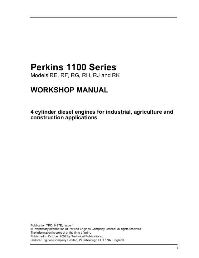 PERKINS 1100 SERIES RK DIESEL ENGINE Service Repair Manual
