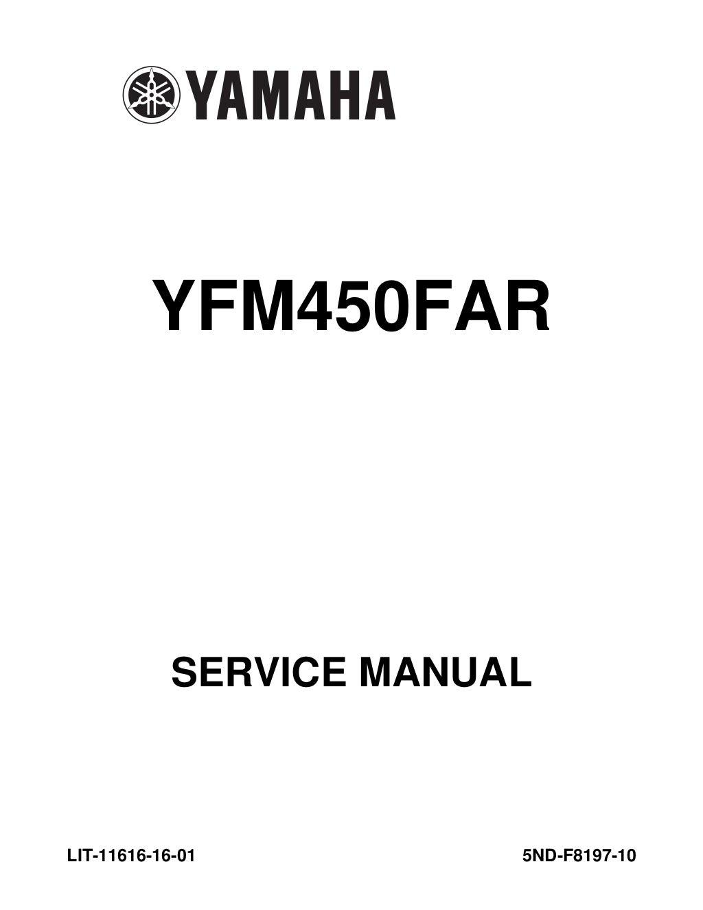 2003 Yamaha YFM450FAR Kodiak 450 4x4 Ultramatic Service