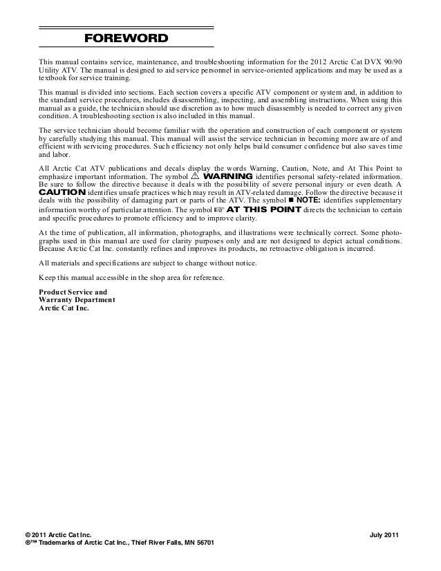 2012 Arctic Cat Dvx 90 90 Utility Atv Service Repair Manual