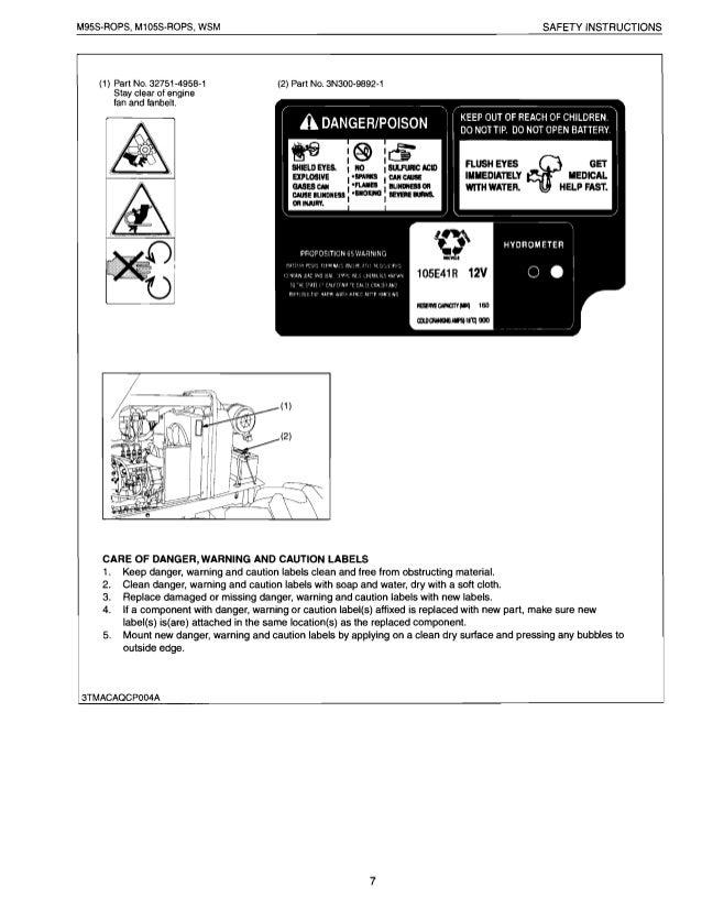 Kubota m105s owners manual