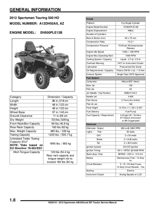 2012 Polaris Sportsman 500 HO Service Repair Manual