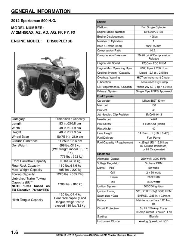 2012 Polaris Sportsman 500 HO Service Repair Manual