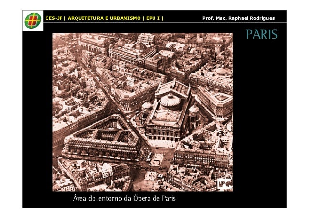 CES-JF   ARQUITETURA E URBANISMO   EPU I   Prof. Msc. Raphael Rodrigues  Área do entorno da Ópera de Paris  PARIS