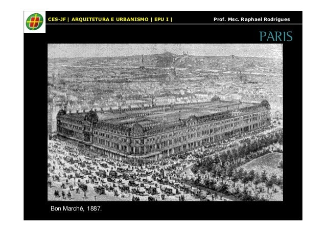 CES-JF   ARQUITETURA E URBANISMO   EPU I   Prof. Msc. Raphael Rodrigues  Bon Marché, 1887.  PARIS