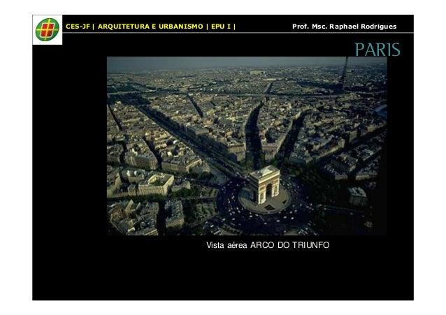 CES-JF   ARQUITETURA E URBANISMO   EPU I   Prof. Msc. Raphael Rodrigues  Vista aérea ARCO DO TRIUNFO  PARIS