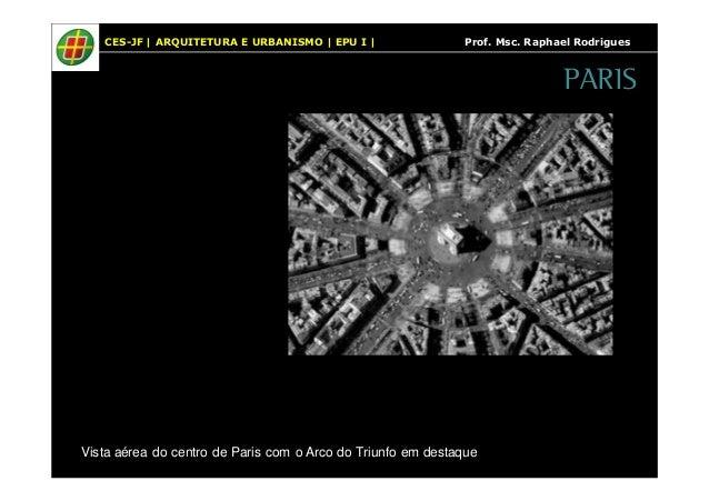 CES-JF   ARQUITETURA E URBANISMO   EPU I   Prof. Msc. Raphael Rodrigues  Vista aérea do centro de Paris com o Arco do Triu...