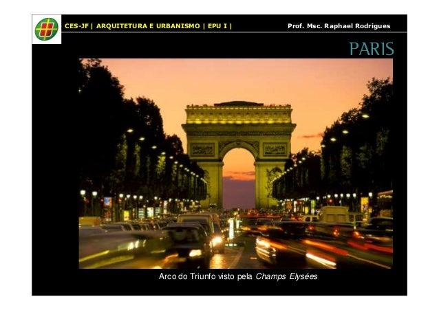 CES-JF   ARQUITETURA E URBANISMO   EPU I   Prof. Msc. Raphael Rodrigues  Arco do Triunfo visto pela Champs Elysées  PARIS