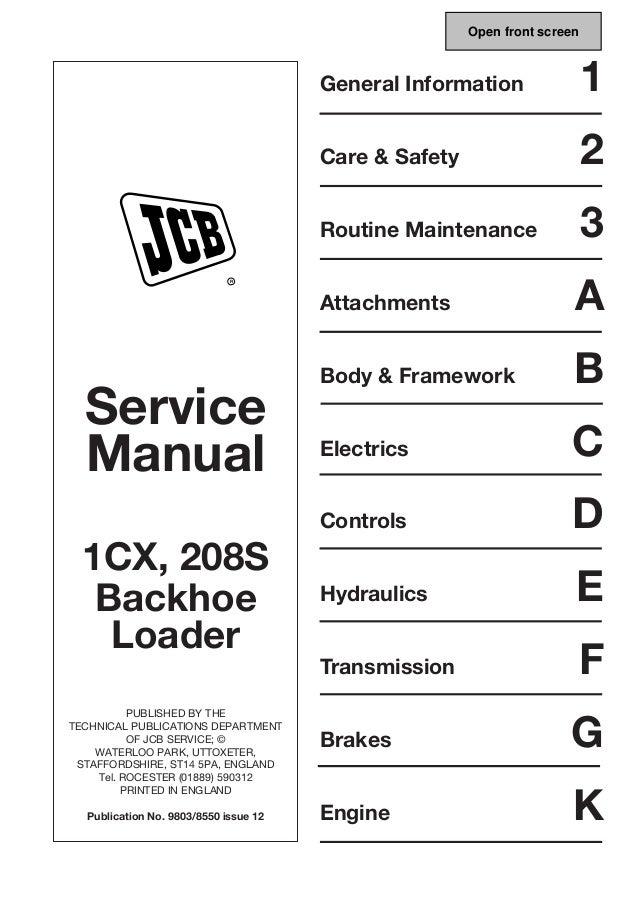 JCB 208S BACKHOE LOADER Service Repair Manual SN 806000