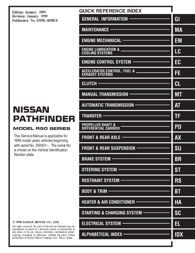 1999 Nissan Pathfinder Wiring Schematic - Block And Schematic Diagrams •