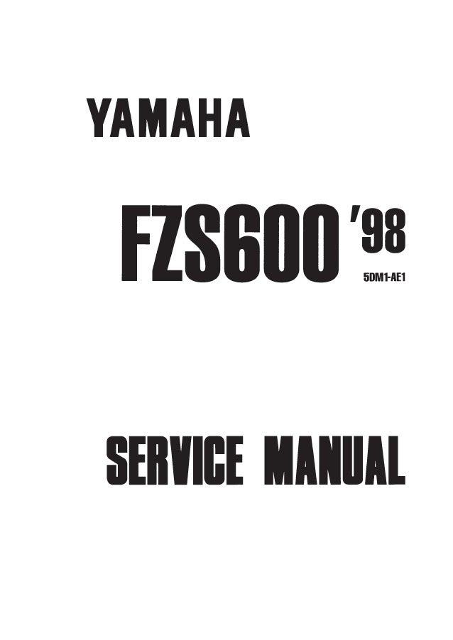 yamaha fazer fzs600 1998 factory service repair manual