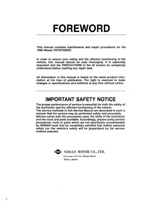 1998 nissan pathfinder service repair manual rh slideshare net 1998 nissan frontier parts manual nissan pathfinder 1998 repair manual download