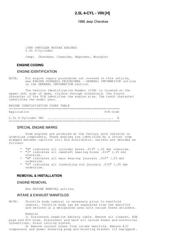 jeep cherokee 1988 service repair manual workshop download