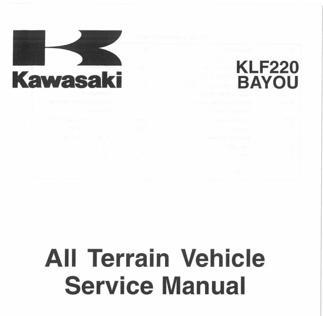 1994 Kawasaki KLF220-A7 Bayou Service Repair Manual