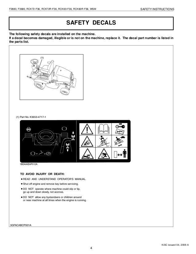 kubota f3680 front cut ride on mower service repair manual f3680 kubota service manual kisc issued 04, 2006 a; 6
