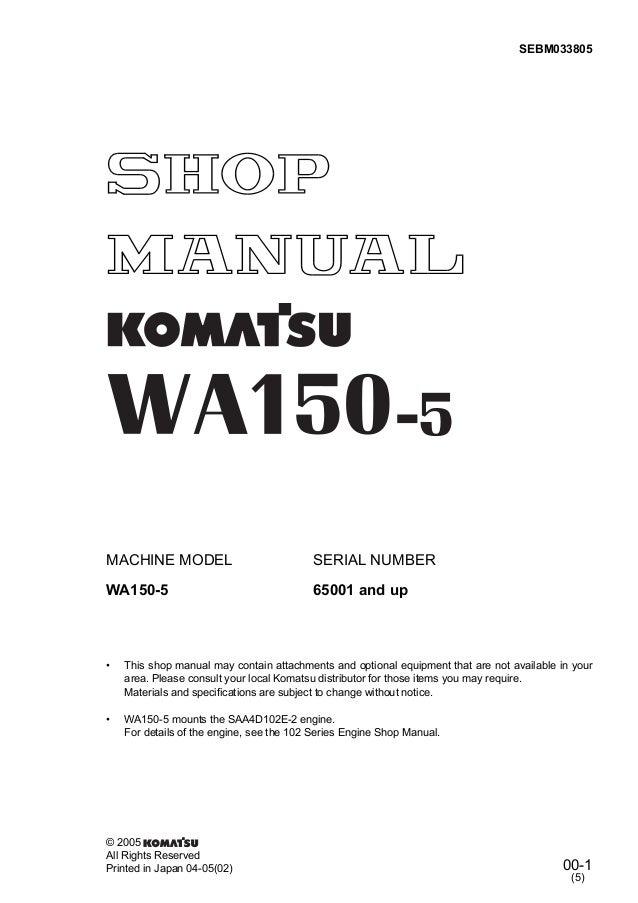 KOMATSU WA150-5 WHEEL LOADER Service Repair Manual SN:65001 and up
