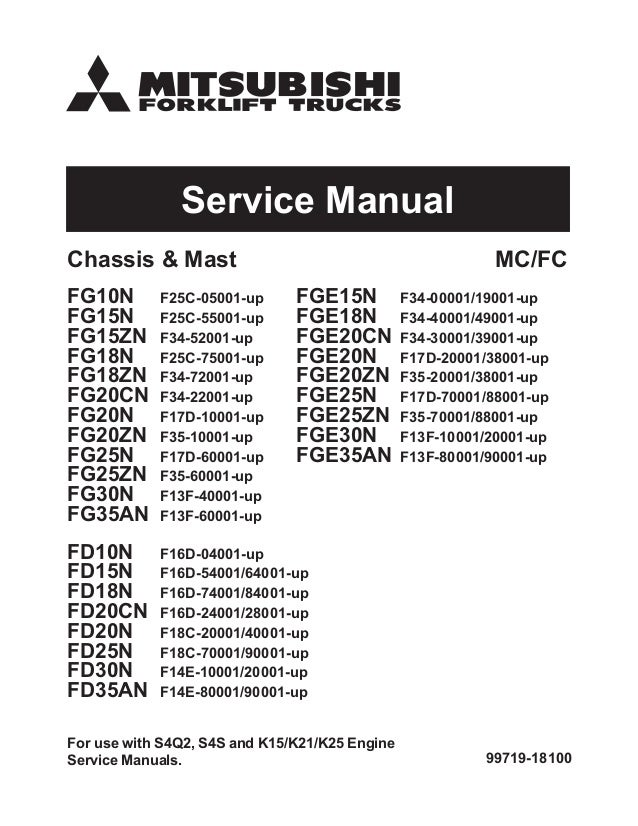 mitsubishi fg18zn forklift trucks service repair manual sn f34 70001 rh slideshare net mitsubishi repair manual mitsubishi repair manual free