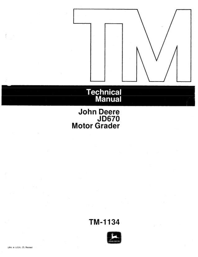 john deere jd670 motor grader service repair manual rh slideshare net