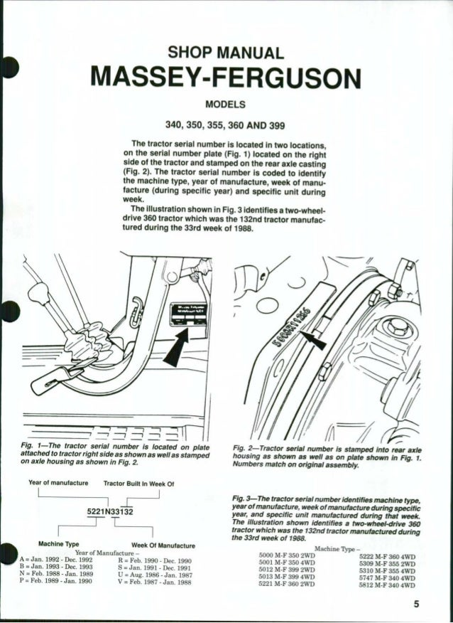 MEY FERGUSON MF399 TRACTOR Service Repair Manual on