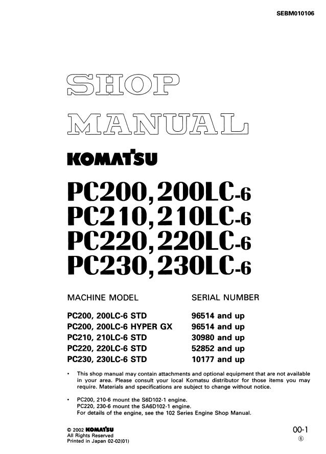 Komatsu Pc220 220lc 6 Std Hydraulic Excavator Service Repair Manual
