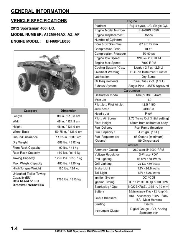 2012 Polaris Sportsman Forest 500 Intl Service Repair Manual