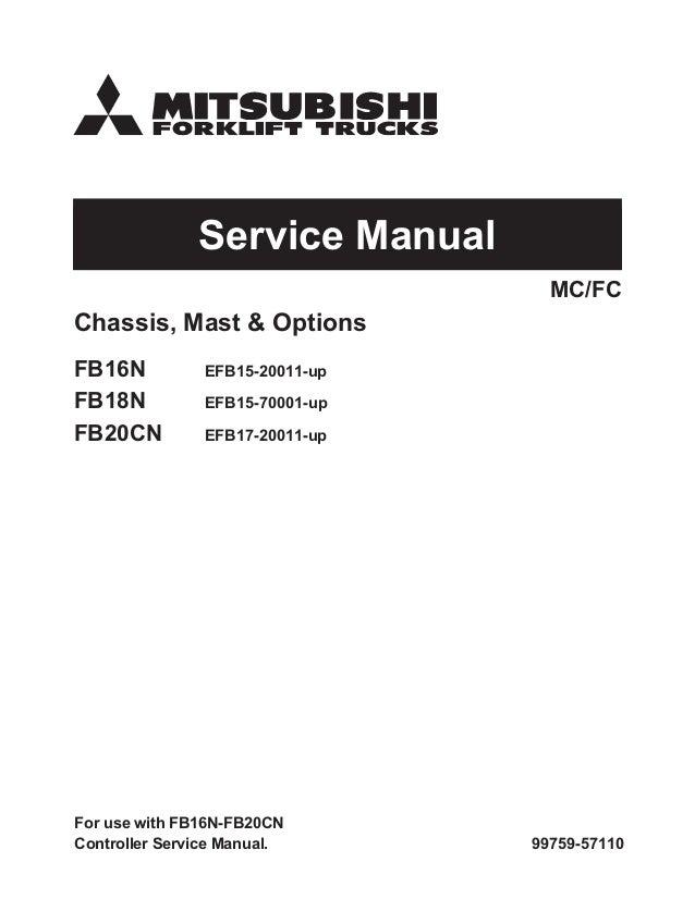 MITSUBISHI FB18N FORKLIFT TRUCKS Service Repair Manual SN:EFB15-70001…