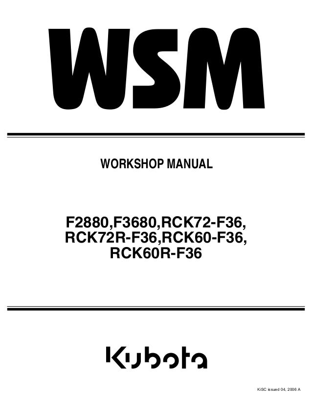kubota f2880 front cut ride on mower service repair manual rh slideshare net F3680 Kubota Service Manual Kubota F3680 Cab