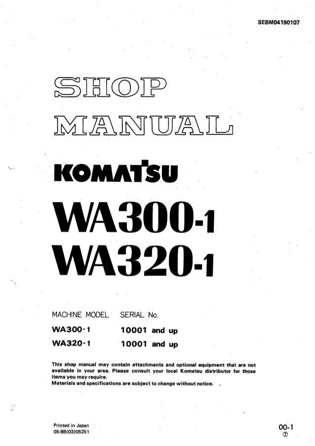 Komatsu Wa320 1 Wheel Loader Service Repair Manual Sn 10001 And Up