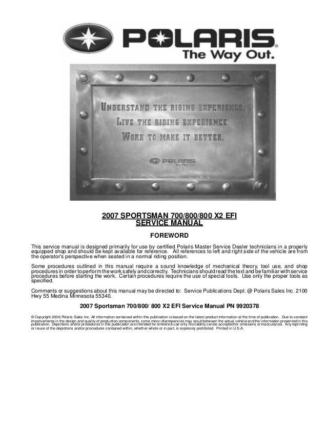 2007 Polaris Sportsman 700 Efi Service Repair Manual