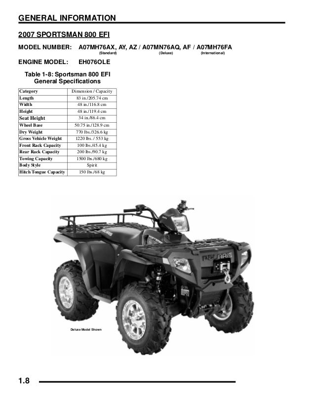 2007 Polaris Sportsman 700 EFI Service Repair Manual