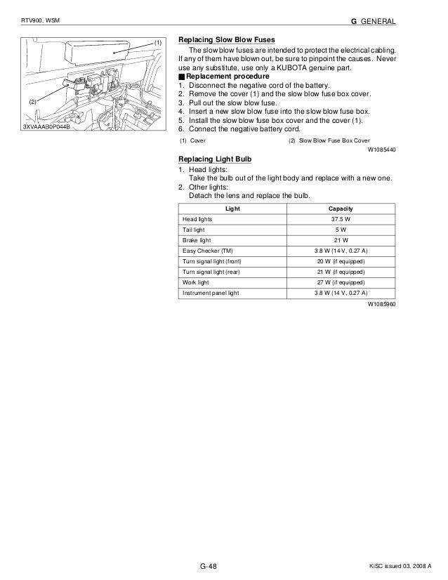 kubota rtv900 utility vehicle utv service repair manual rh slideshare net kubota rtv 900 fuse diagram kubota rtv 900 fuse box