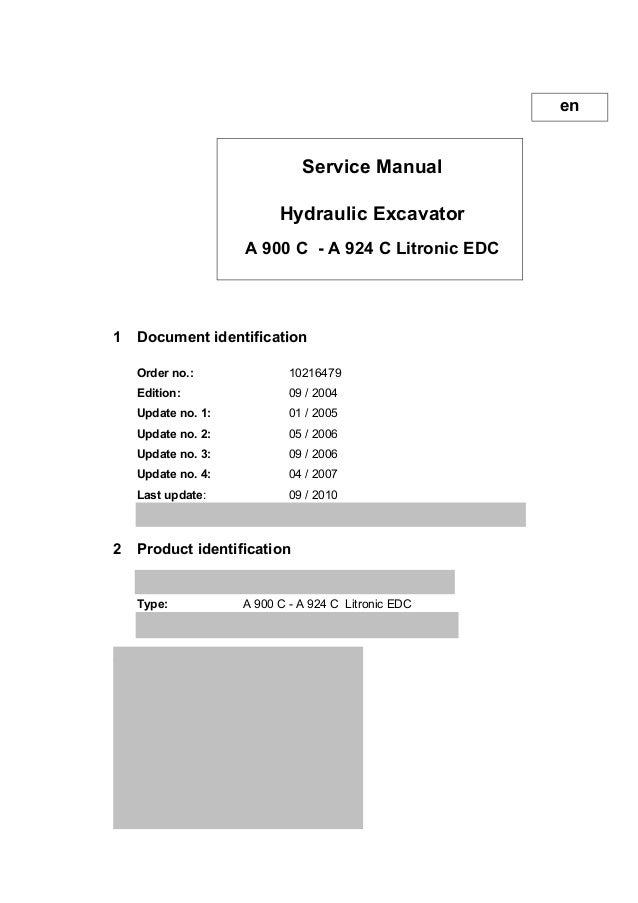 liebherr a 914 c litronic edc hydraulic excavator service repair manual  sn:35112 and up