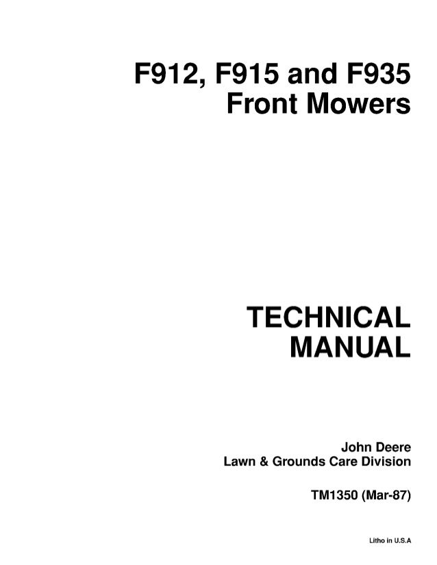 John Deere F935 Front Mower Service Repair Manual