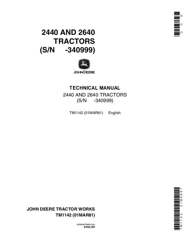 John deere tractor service manual 2440 2640 jd-s-tm1142   ebay.