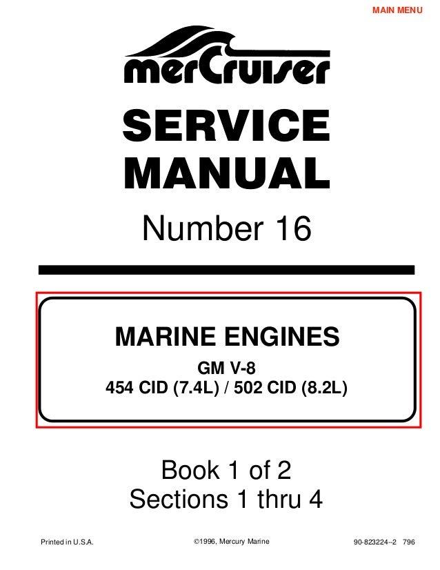 mercury mercruiser marine engines gm v8 454 cid (7 4l) & 502 cid (8 2l)  1995 service repair manual