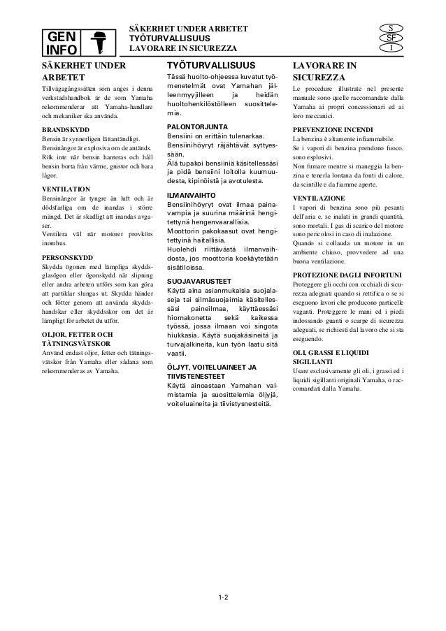 YAMAHA E115AET OUTBOARD Service Repair Manual L: 014822