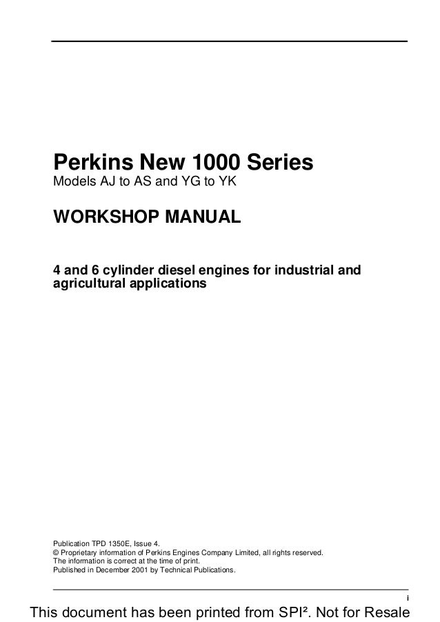 Perkins New 1000 Series Models Ar Diesel Engine Service