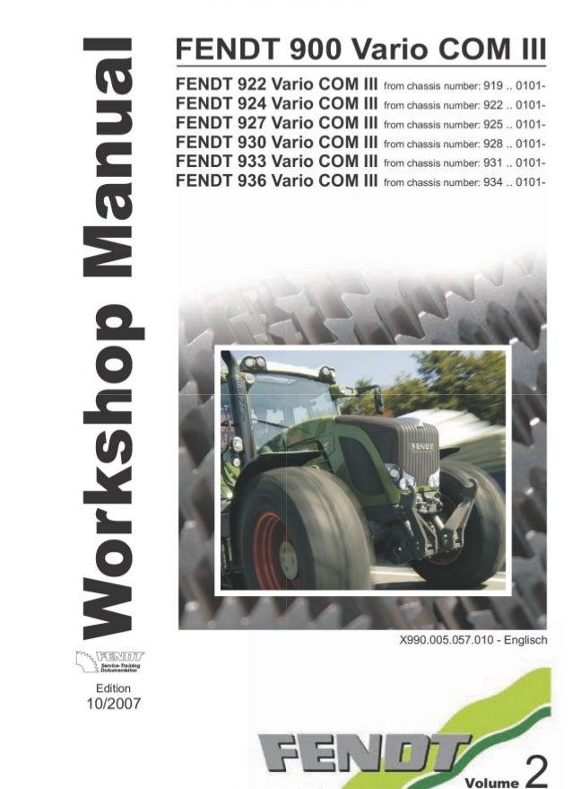 Fendt 927 Vario Com  U2162 Tractor Service Repair Manual Sn Uff1a925