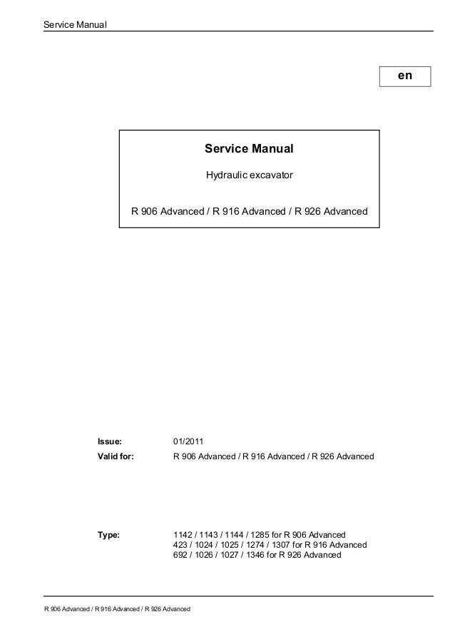 Liebherr R 906 Advanced Hydraulic Excavator Service Repair Manual Sn