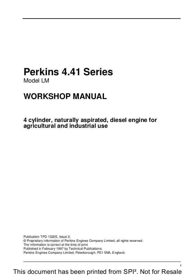 PERKINS 4 41 SERIES LM DIESEL ENGINE Service Repair Manual