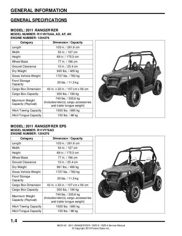 2011 Polaris RANGER RZR 4 EPS ATV Service Repair Manual