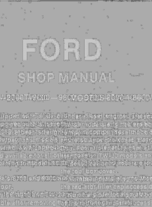 Ford 8700 Tractor Service Repair Manual