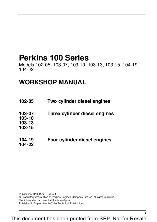 PERKINS 100 SERIES 102-05 DIESEL ENGINE Service Repair Manual