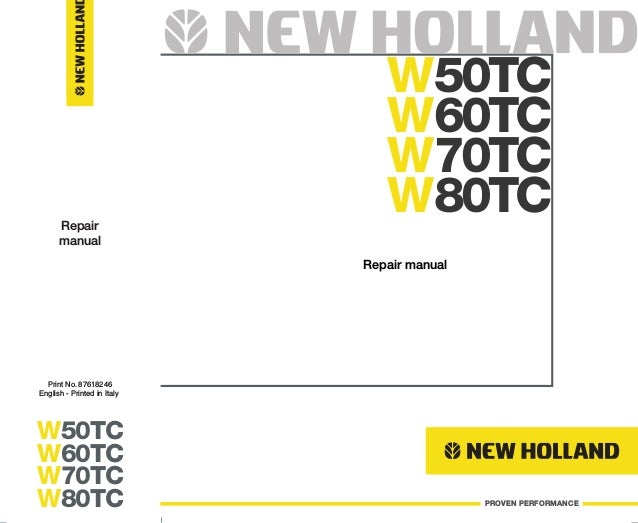 NEW HOLLAND W50TC COMPACT WHEEL LOADER Service Repair Manual on