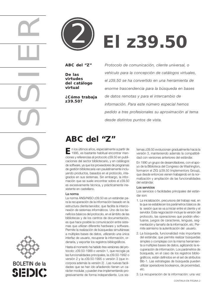 """DOSSIER            2                         El z39.50                 ABC del """"Z""""                     Protocolo de comuni..."""