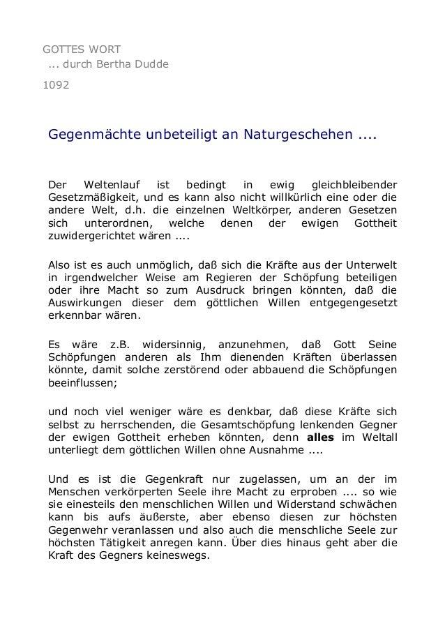 GOTTES WORT ... durch Bertha Dudde 1092 Gegenmächte unbeteiligt an Naturgeschehen .... Der Weltenlauf ist bedingt in ewig ...