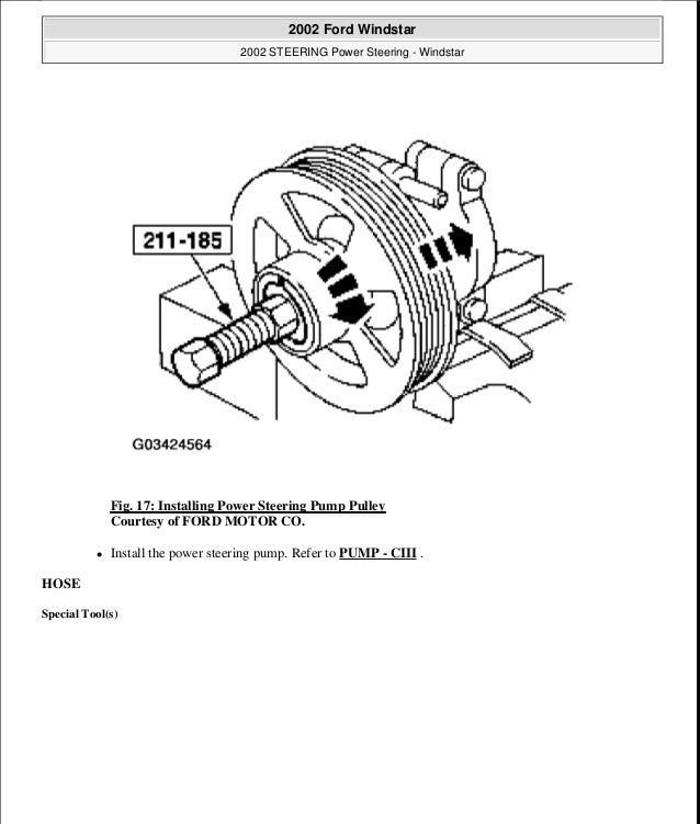 2001 Ford Windstar Power Steering Pump Location Wiring Diagram