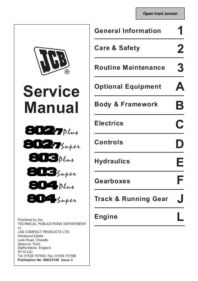 jcb 803plus mini excavator service repair manual sn 765607 onwards rh slideshare net A Manual for 1986 JCB Backhoe Back Hoe A Manual for 1986 JCB Backhoe Back Hoe
